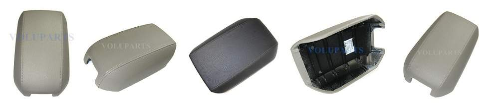 Collage of pictures of Genuine Volvo center console lid covers for any Volvo XC90. Possible colors for the armrest top can be described as beige, tan, oak, dark grey, & off-black.